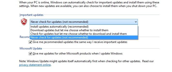 disabling auto updates windows 10